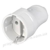Штепсельное гнездо РПп10-01-Ст с заземляющим контактом 16А белая IEK