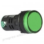 Светосигнальная арматура AD22-22DS зеленая 12V АC/DC