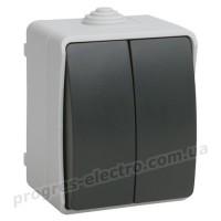 Выключатель 2-клавишный для открытой установки ВС20-2-0-ФСр ФОРС IP54 IEK